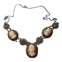 Three-Cameo Necklace - 1930's - Italian Shell Cameos set in German 800 Coin Silver