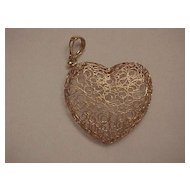 "Large ""Filigree"" Heart Pendant - 14KG - Italian - Beautiful!"
