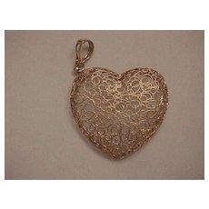 """Large """"Filigree"""" Heart Pendant - 14KG - Italian - Beautiful!"""