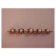 Bar Pin - circa 1915 - 14K GF - 5 Pearls