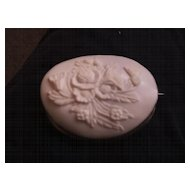 """Shell Brooch - """"Flower Basket"""" - shell cameo - in Coin Silver - Late 1800's"""