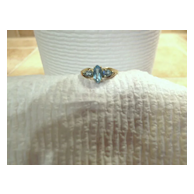 Three-stone genuine blue Topaz ring - ladies - Size 7 - 10KG