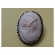 Shell Cameo  Brooch- circa 1915-1920 - Light Pink - Rosaline Shell