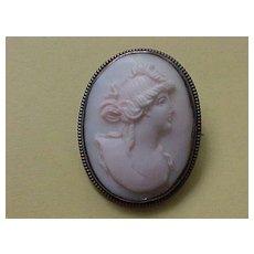 Shell Cameo  Brooch- circa 1915-1920 - Light Pink - Rosaline Shell