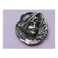 "Pewter Cameo Brooch - ""White Swan Pewter"" - Elegant Lady"