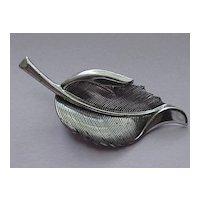 Sterling Silver Brooch, Solid Leaf, Detailed Design