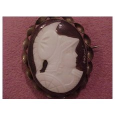 """Antique Glass Cameo Brooch in Brass Bezel - """"Athena"""""""
