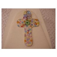 "Fused Glass Cross Pendant - ""Millefiore"" - Multicolor"