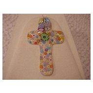 "Fused Glass Cross Pendant - ""Millefiore"" - Multicolor"