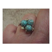 Three-Stone Turquoise Ring - Ladies'  -10KG - Size 6