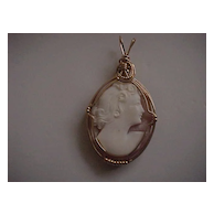Cameo Pendant - 14K GF Wirewrap - Lovely Lady - 1940's