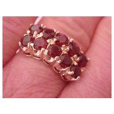 Garnet Ring, Genuine, Ladies' Size 6 1/2 - Ten Garnets!