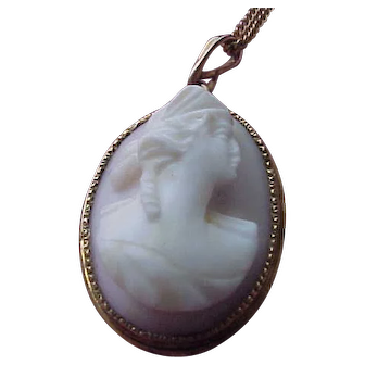 1915  Circa Angelskin Coral Cameo Pendant - in Gold-Filled Bezel