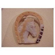 Horse-in-a-Horseshoe Cameo - Unusual - Contemporary - Tri-Color - Pendant