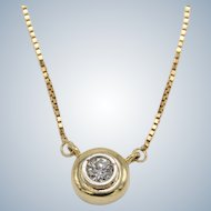 "Sweet 14k Yellow Gold .5ct Diamond Pendant & 19.5"" Box Chain"