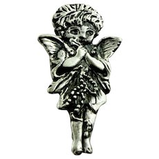"""Vintage Detailed Sterling Silver 925 Angel w/Wings 1 1/2"""" Pin - Signed"""