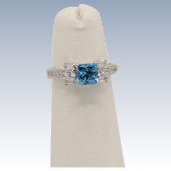 Beautiful 18k White Gold Blue Topaz and Diamond Ring - Size 4.25