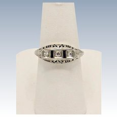 Vintage 14k White Gold Mine-Cut Diamond and Sapphire Engagement Ring - Size 6.25