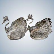 Vintage Pair (2) Sterling Silver Filigree Scrollwork Swans - Russian Origin?