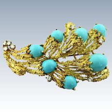Brutalist 14K Yellow Gold-Turquoise-Diamond (.8ctw) Free Form Pin & Earring Set