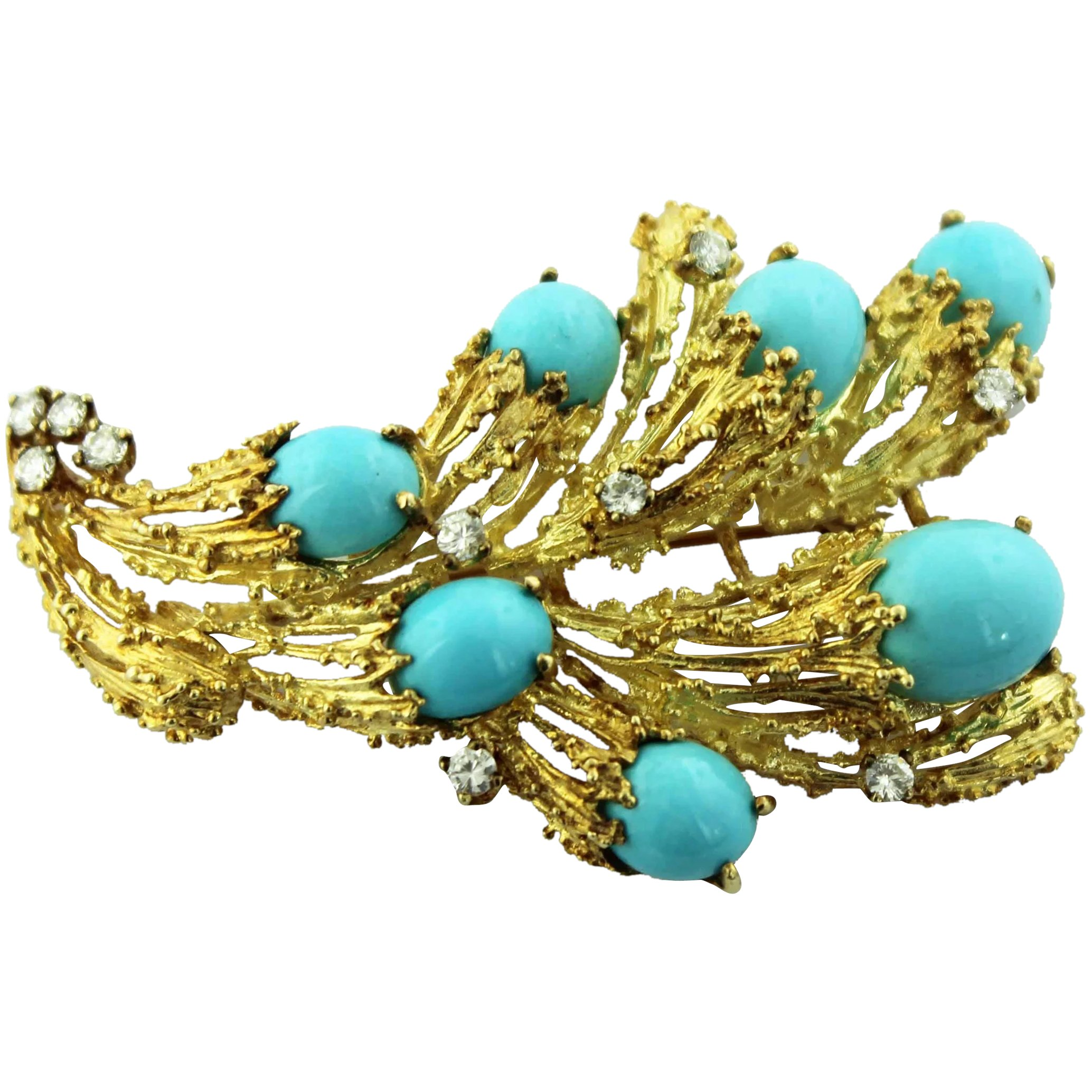 Brutalist 14k Yellow Gold Turquoise Diamond 8ctw Free Form Pin