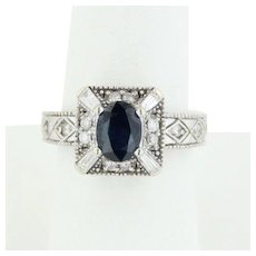 14k White Gold Oval Sapphire and Diamond Filigree Statement Ring - Size 6.5