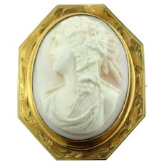 Antique 10K Yellow Gold & Carved Shell Cameo Pin-Leaves in Hair-Etched Border