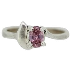 Sterling Silver Oval Pink Stone with Leaf Ring - Size 6.5