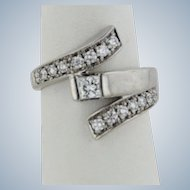 Beautiful 14k White Gold Diamond Cluster Bypass Ring - Size 6.75