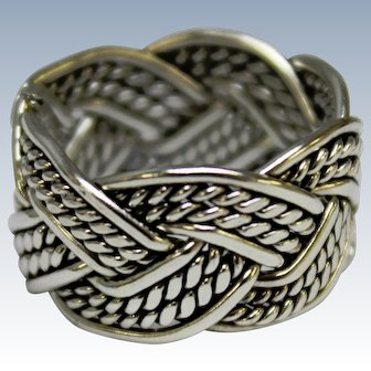"""Sterling Silver 3/8"""" Wide Band Ring w/Braided Rope Pattern - Size 7"""