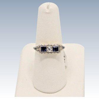 Vintage 14k Two-Tone Yellow/White Gold Sapphire/Diamond Panel Ring - Sz 7