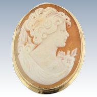 Antique 14K Yellow Gold & Carved Shell Cameo Pin/Pendant-Marked 585, 671, MA