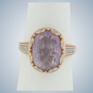 Fancy 14K Two-Tone Rose/White Gold Oval Rose Quartz Ring - Size 7