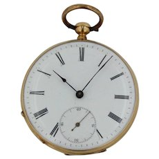 18Kt Yellow Gold Key Wind Cylindre Dix Rubis Pocket Watch