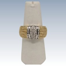 Bold 14k Two-Tone 40-Diamond Cluster Dotted Design Band - Size 7.5