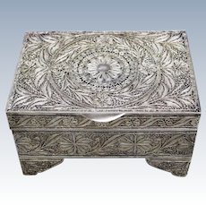 Vintage Sterling Silver Filigree Jewelry/Trinket Box with Hinged Lid - Russian Origin - 616 Grams