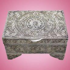 Vintage Sterling Silver Filigree Jewelry/Trinket Box with Hinged Lid - Russian Origin - 616 Grams