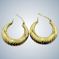 """14K Yellow Gold Fancy Hoop 1"""" Pierced Earrings - Tapered - Etched Pattern"""