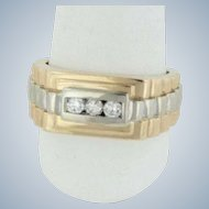 Men's 14k Two-Tone White/Yellow Gold Channel Set Diamond Ridged Ring - Size 9.5
