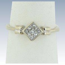 Sweet 14kt White Gold Princess Cut Diamond Cluster Ring - Size 7