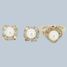 14k Yellow Gold Pearl/Diamond Cluster Ring and Earring Set