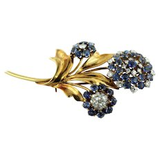 "Vintage 14K Yellow Gold-Diamond-Bluish/Purple Amethyst 2 1/4"" Flower Pin-160 Mark"