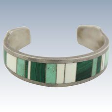 Sweet Sterling Silver Malachite Colored Stone Inlay Cuff Bracelet