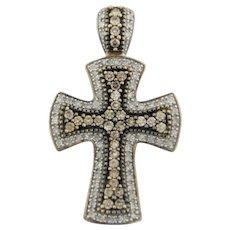 Sweet 10k Two-Tone Gold Cross Pendant with Diamonds