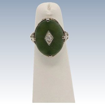 Vintage 18k White Gold Oval Jade and Round Diamond Cocktail Ring - Size 4.25