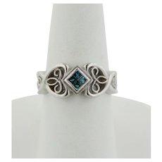 14K White Gold Ring w/4 Princess Cut Blue Diamonds (.2ctw)-Scroll Band-Size 6.75