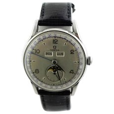 Omega 1940's Cosmic Moonphase Mechanical Triple Date Watch