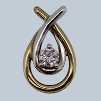 Sweet 10k Two-Tone Gold Twist Pendant with Solitaire .3ct Diamond