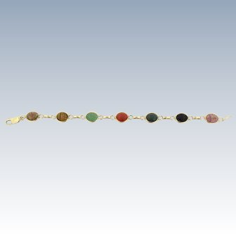 Sweet 14kt Yellow Gold Multi-Colored Scarab Link Bracelet - 7.5""