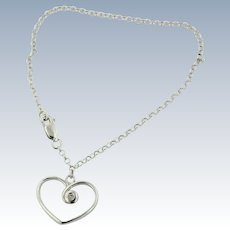 """Sweet Sterling Silver Chain Link Bracelet with Heart Pendant - 7 1/4"""""""